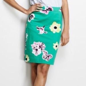 Green Tropical J. Crew The Pencil Skirt Size 8